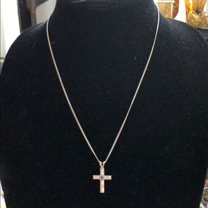 Cross chain sterling silver unmarked chain